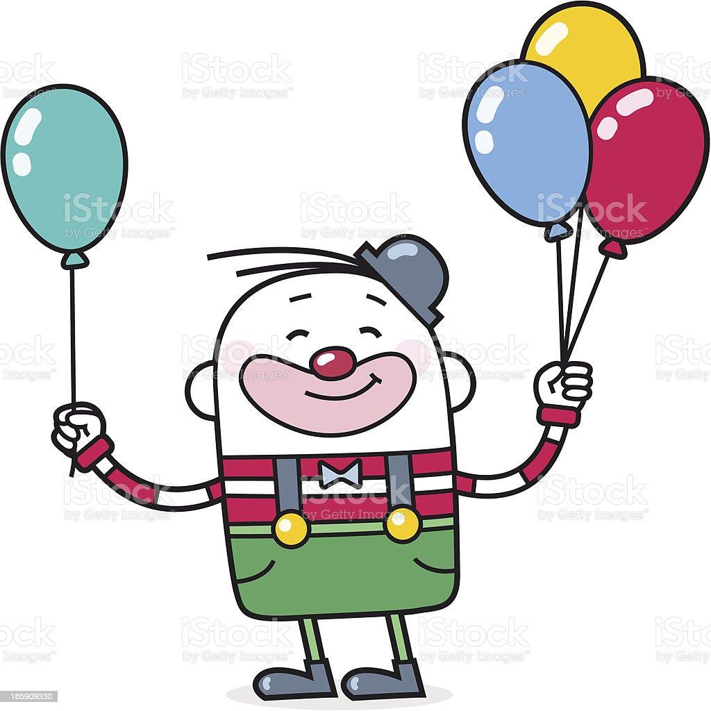 cartoon clown giving away balloons vector art illustration