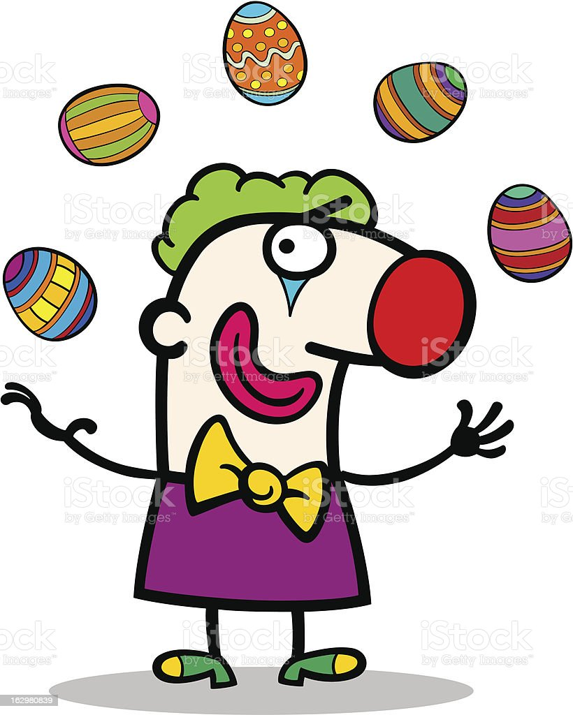 cartoon clown juggling easter eggs royalty-free stock vector art