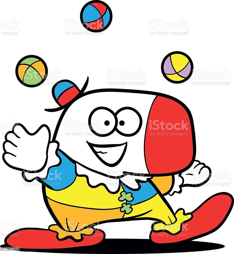 cartoon clown juggling vector art illustration