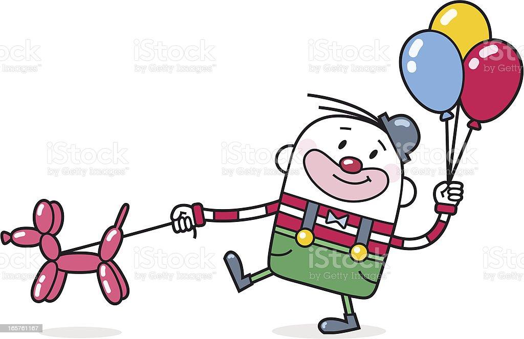 Cartoon Clown with Balloon Poodle vector art illustration