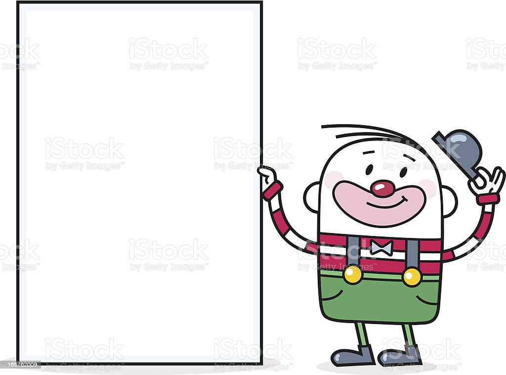 Cartoon Clown with blank Sign for your Text vector art illustration