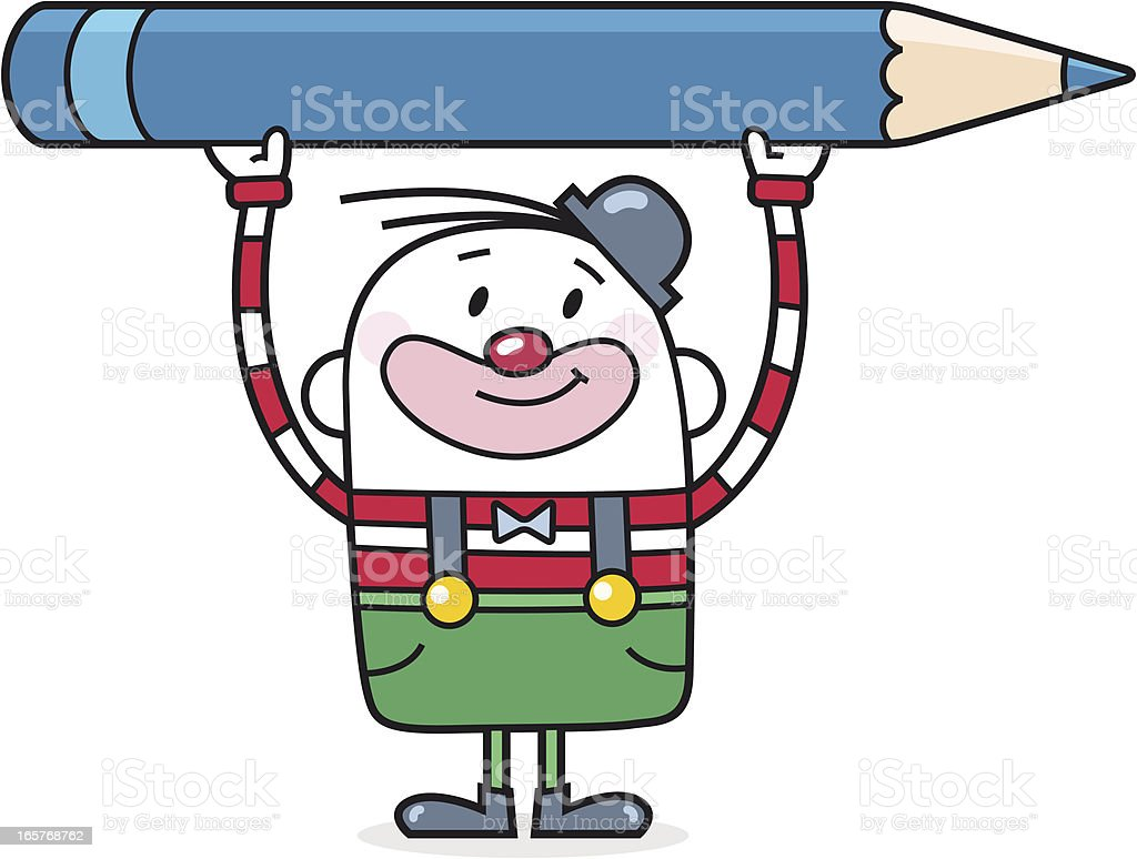 Cartoon Clown With Large Colored Pencil vector art illustration