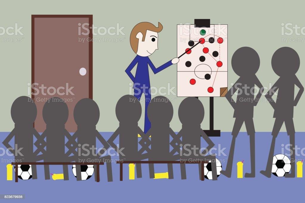 Cartoon coach football, soccer training play plan strategy attack, defend teamwork on board vector art illustration