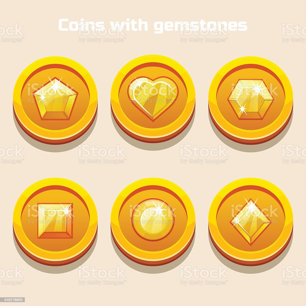 Cartoon coins with gemstones inside, for web game or interface vector art illustration