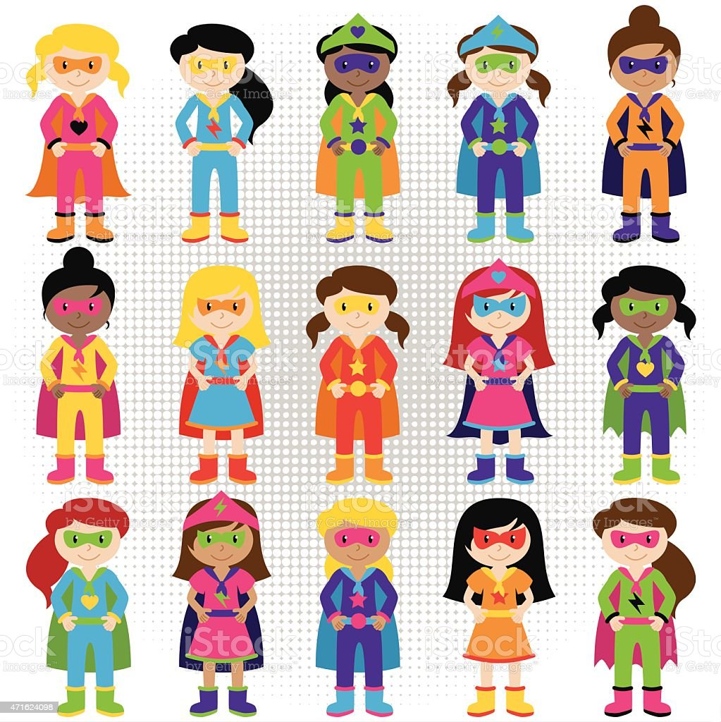 Cartoon collection of kids dressed up as superheroes vector art illustration