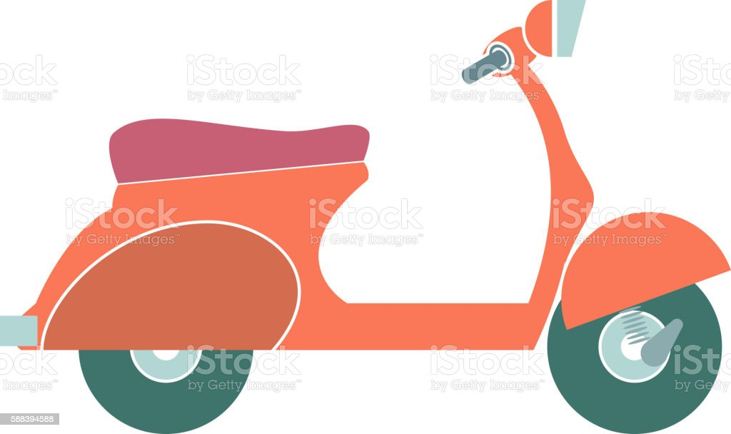 Cartoon Colorful Motorbike isolated on white background. Vector vector art illustration