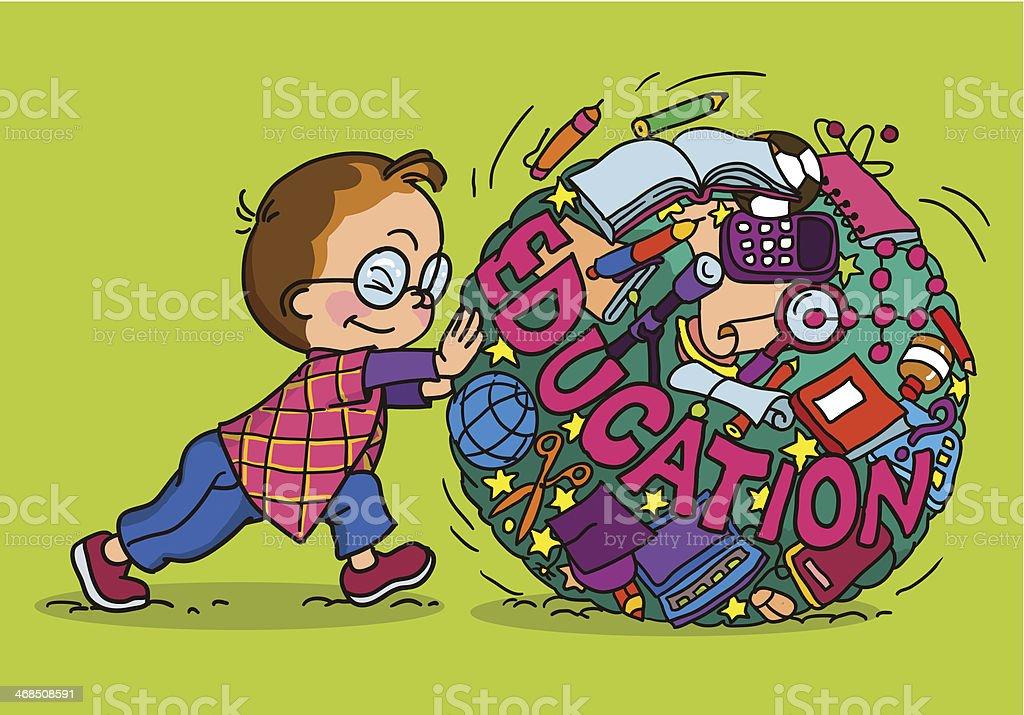 cartoon com child and education icons royalty-free stock vector art
