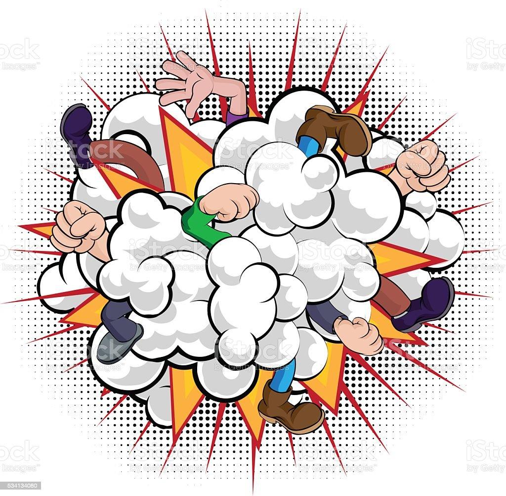 Cartoon Comic Book Fight Dust Cloud vector art illustration