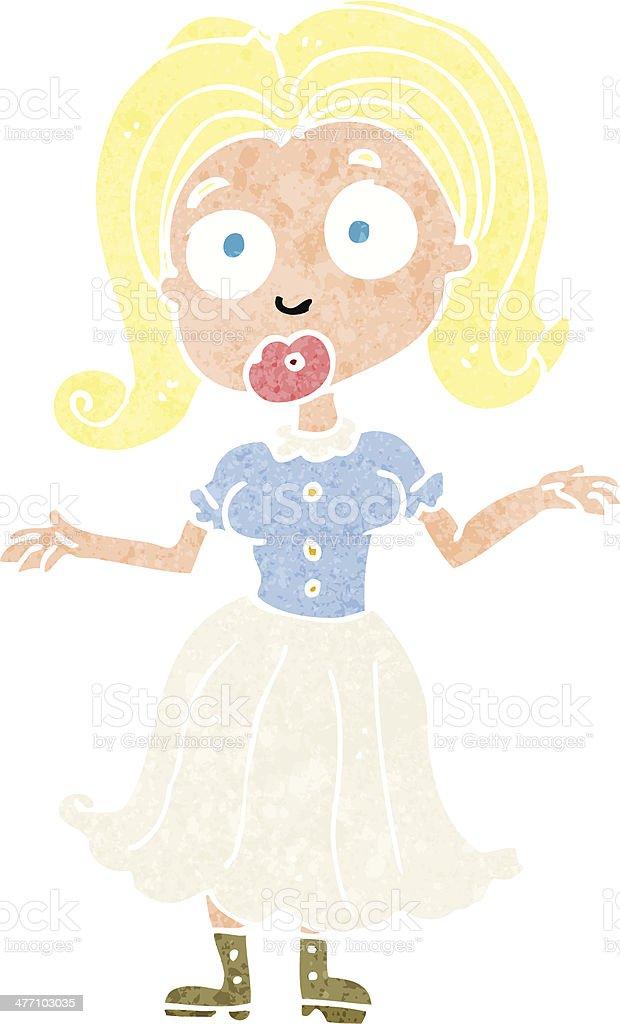 cartoon confused girl royalty-free stock vector art