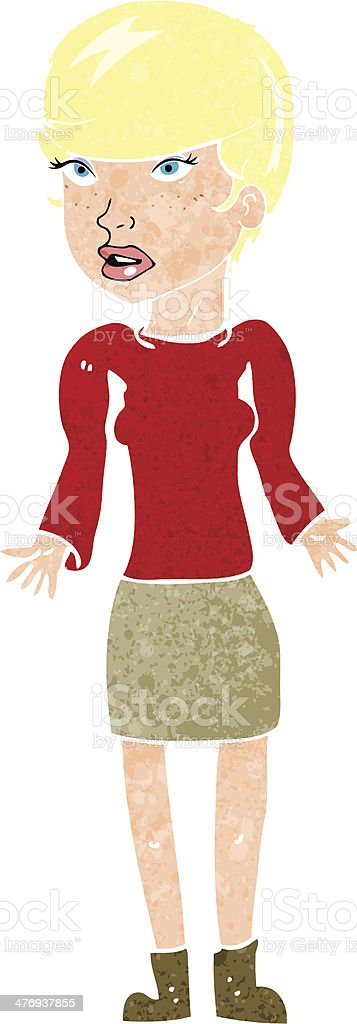 cartoon confused woman royalty-free stock vector art