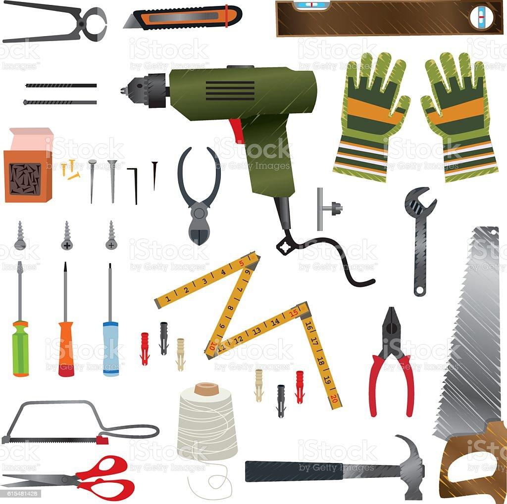 Cartoon Construction Hand Tools vector art illustration