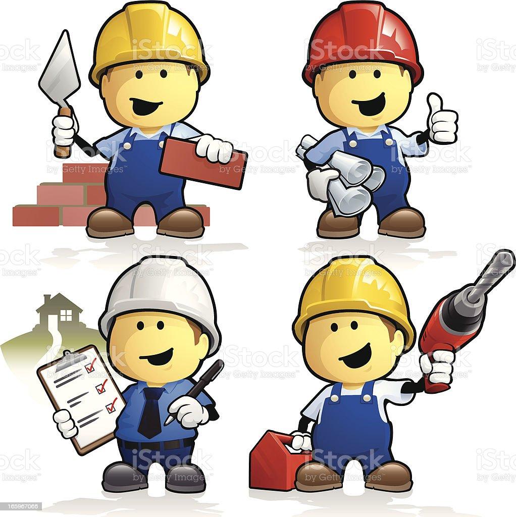 Cartoon construction workers and contractors vector art illustration