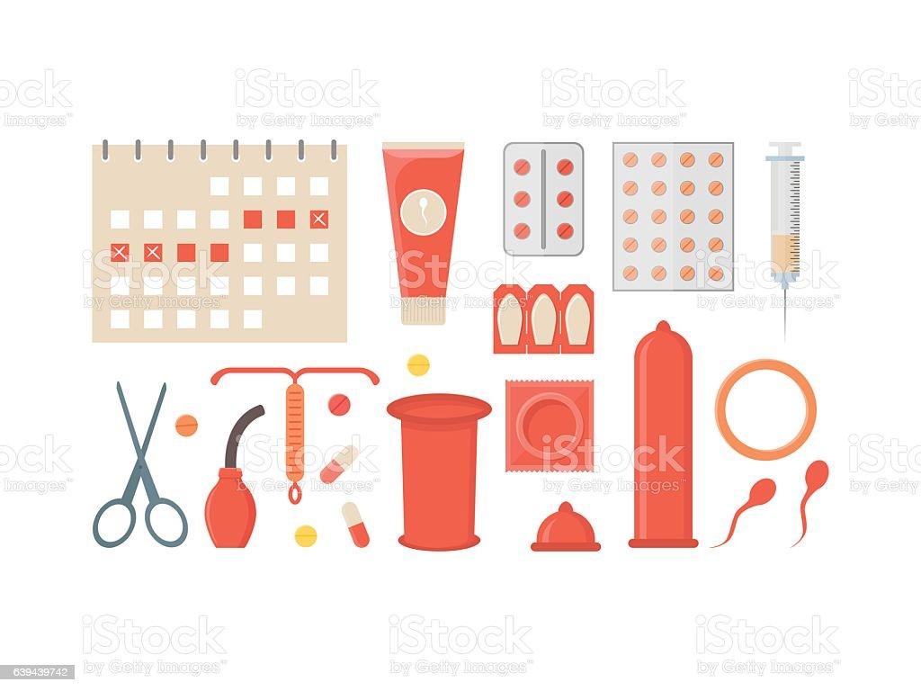 Cartoon Contraception Method Set. Vector vector art illustration