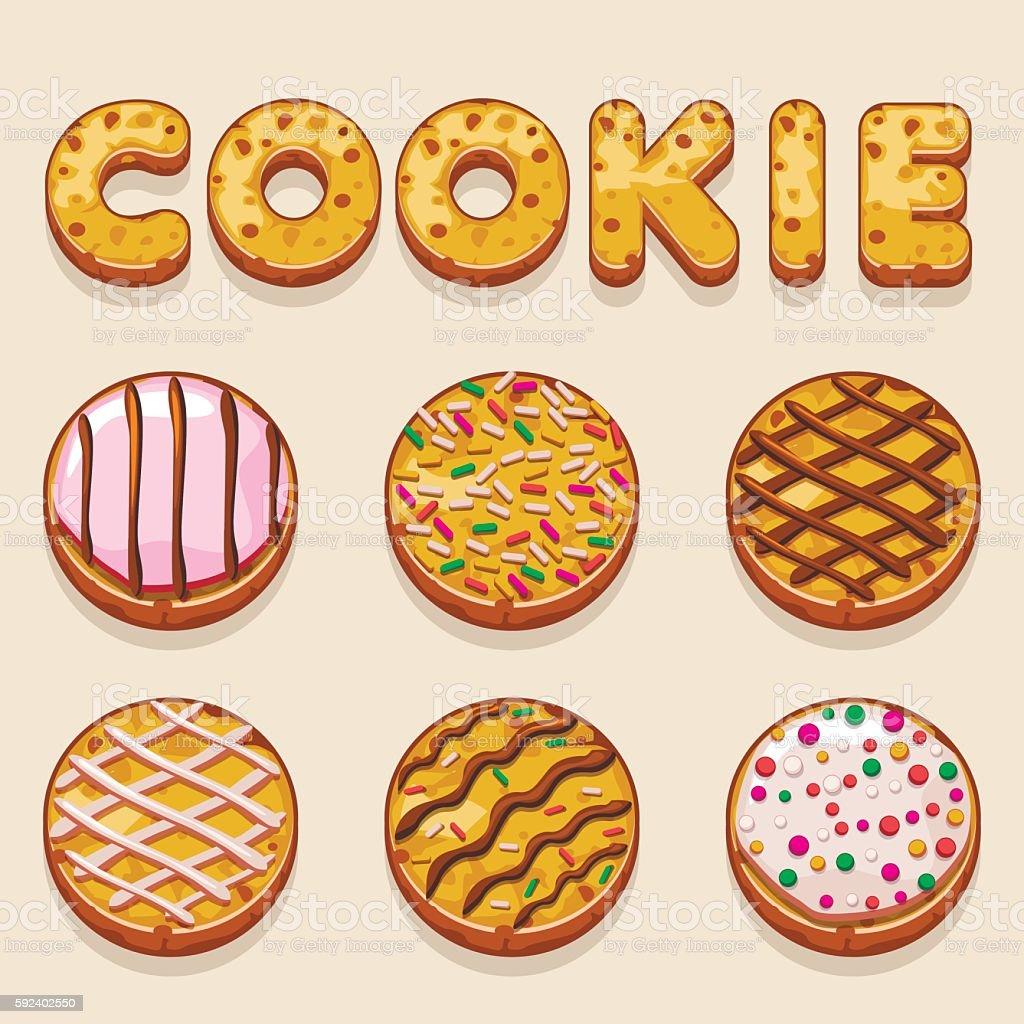 Cartoon cookie, biskvit vector food letters vector art illustration