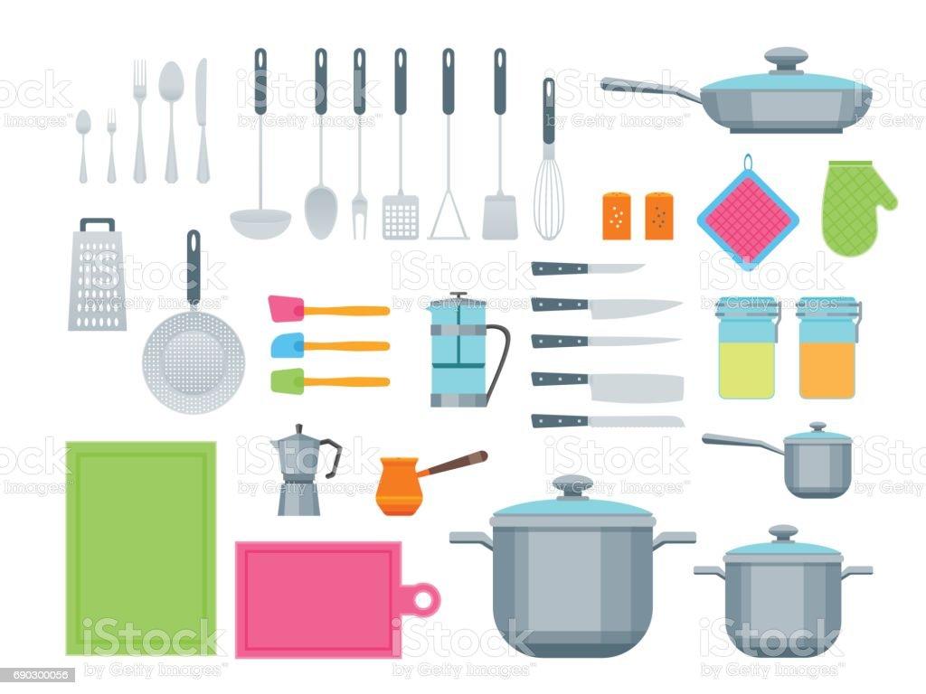 Cartoon Cookware Color Icons Set. Vector vector art illustration