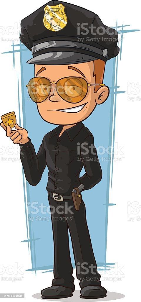Cartoon cool policeman in black uniform vector art illustration