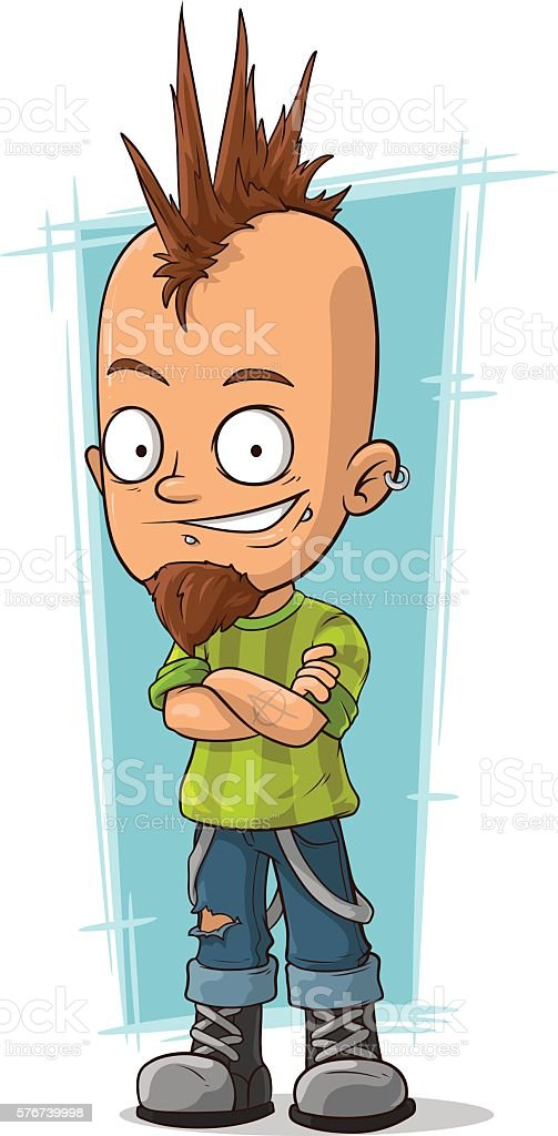 Cartoon cool punk with mohawk hairstyle vector art illustration