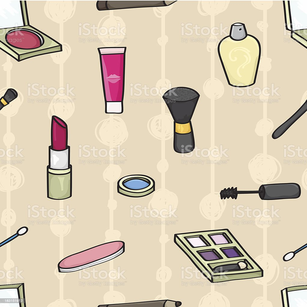 Cartoon Cosmetics Seamless Background royalty-free stock vector art