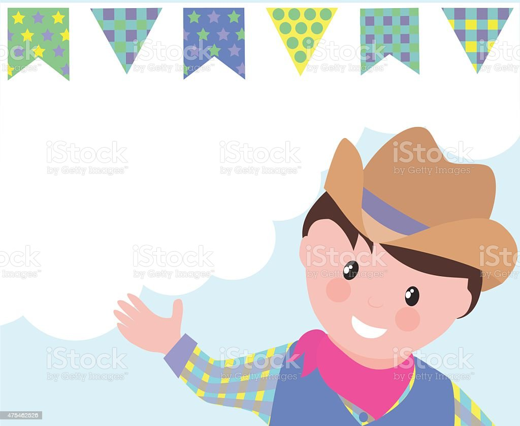 Cartoon country boy and bunting banners vector art illustration