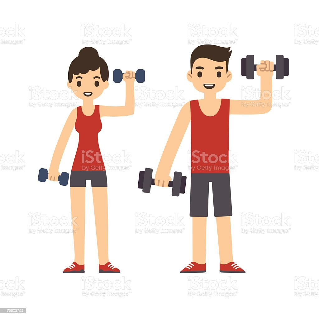 Cartoon couple with dumbbells. vector art illustration
