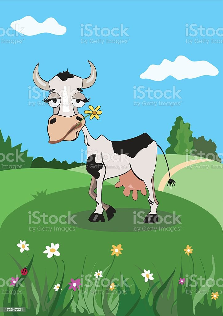 Cartoon cow on a meadow royalty-free stock vector art
