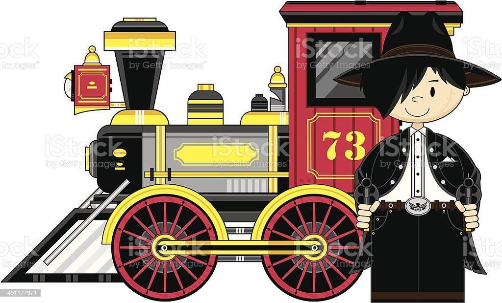 Cartoon Cowboy Outlaw & Train royalty-free stock vector art