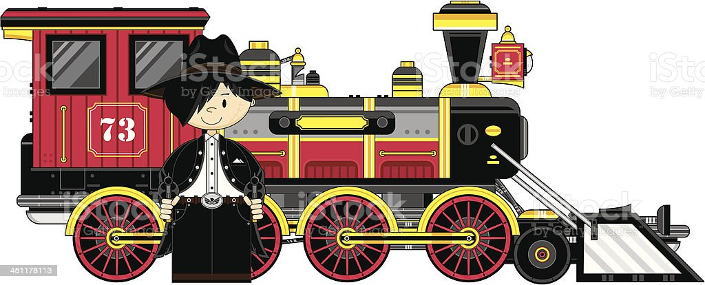 Cartoon Cowboy Outlaw & Train royalty-free stock vector art