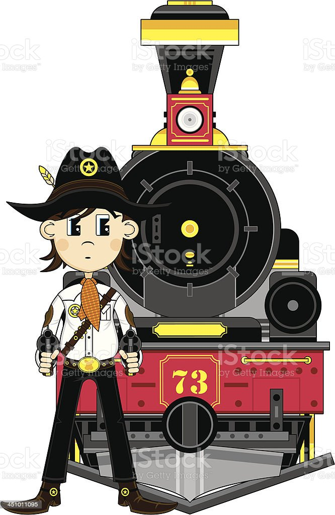 Cartoon Cowboy Sheriff & Train royalty-free stock vector art