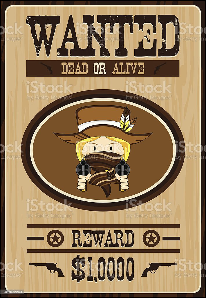 Cartoon Cowboy Wanted Poster royalty-free stock vector art