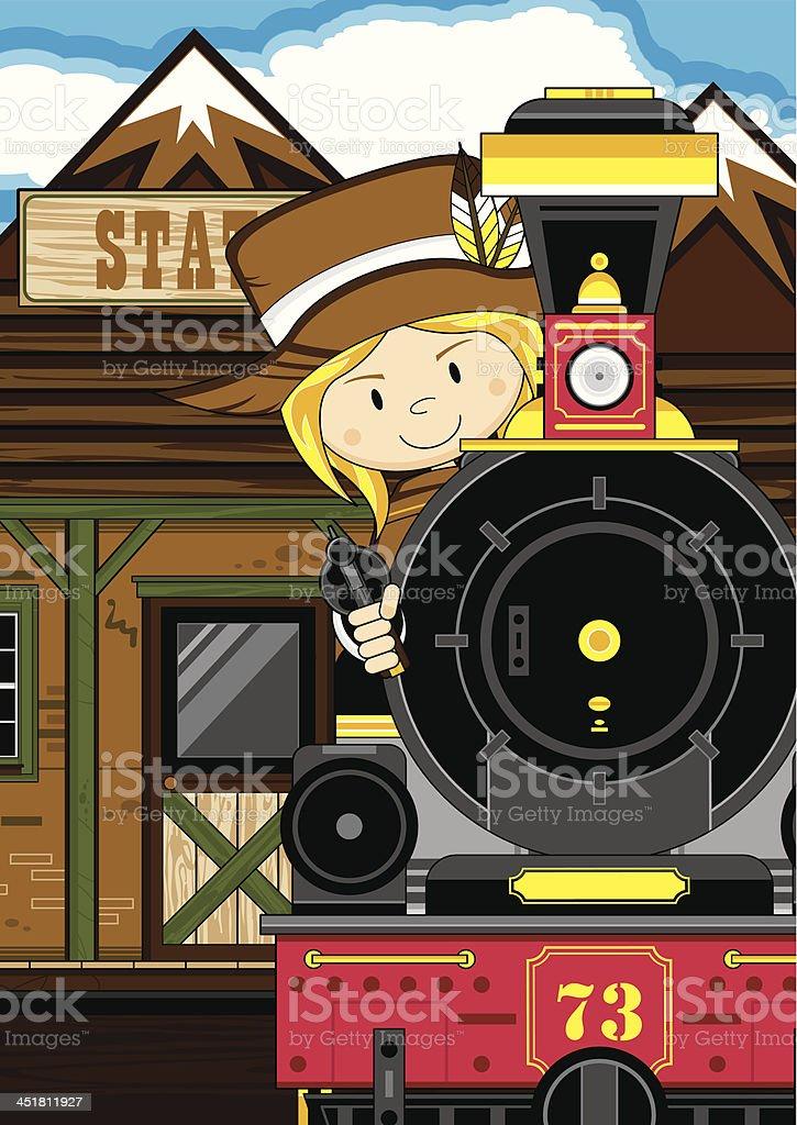 Cartoon Cowgirl at Train Station royalty-free stock vector art