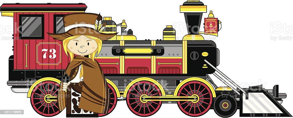 Cartoon Cowgirl Cowboy & Train royalty-free stock vector art