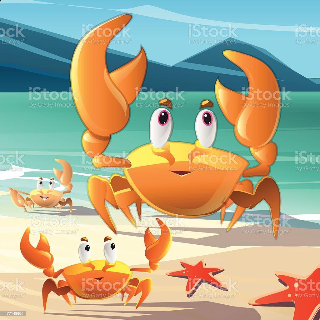 Cartoon crabs on the seashore vector art illustration