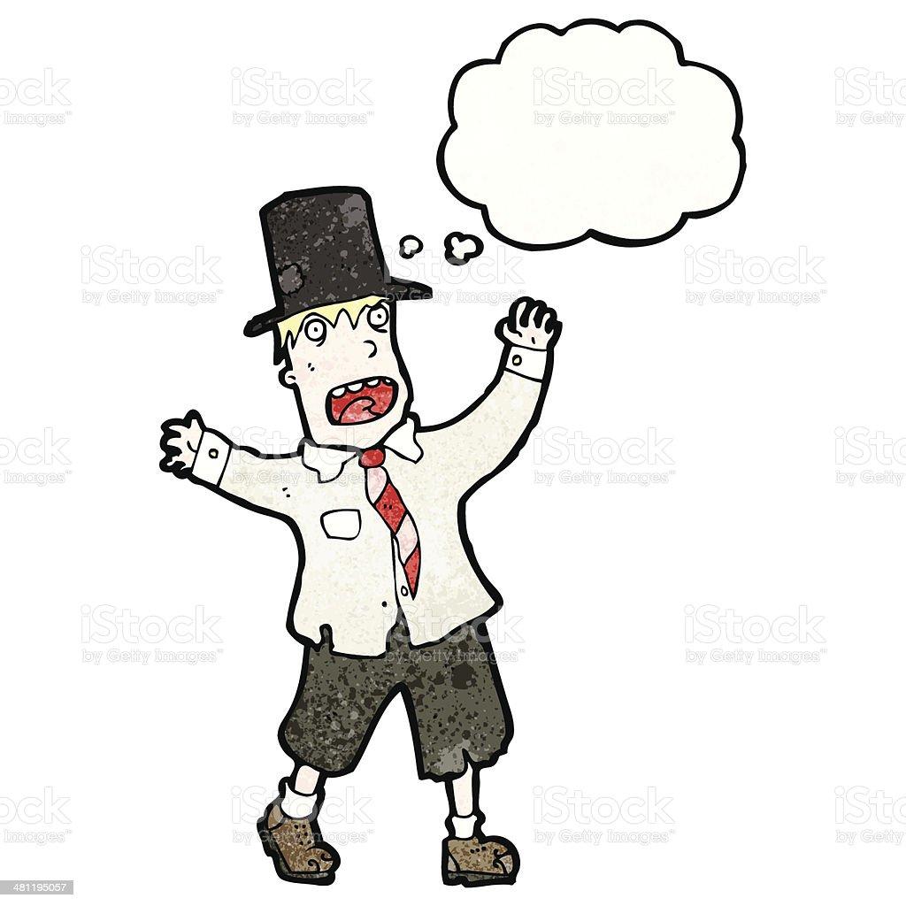 cartoon crazy hobo man in top hat royalty-free stock vector art