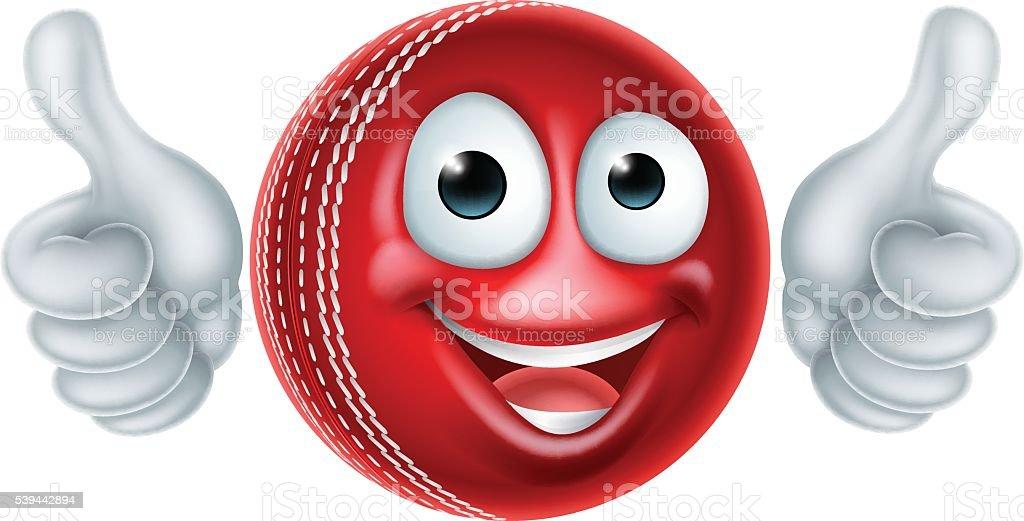 Cartoon Cricket Ball Character vector art illustration