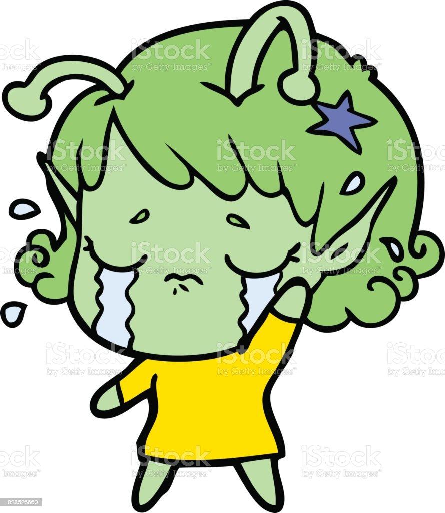cartoon crying alien stock vector art 828526660 istock
