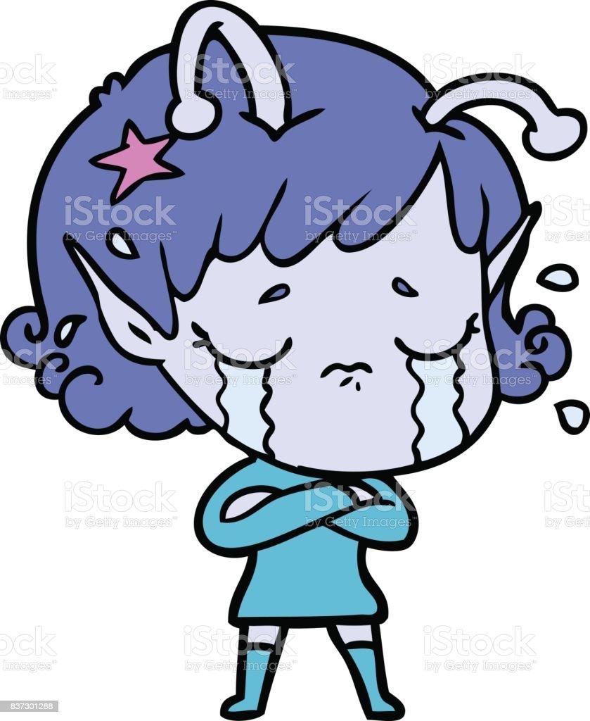 cartoon crying alien stock vector art 837301288 istock