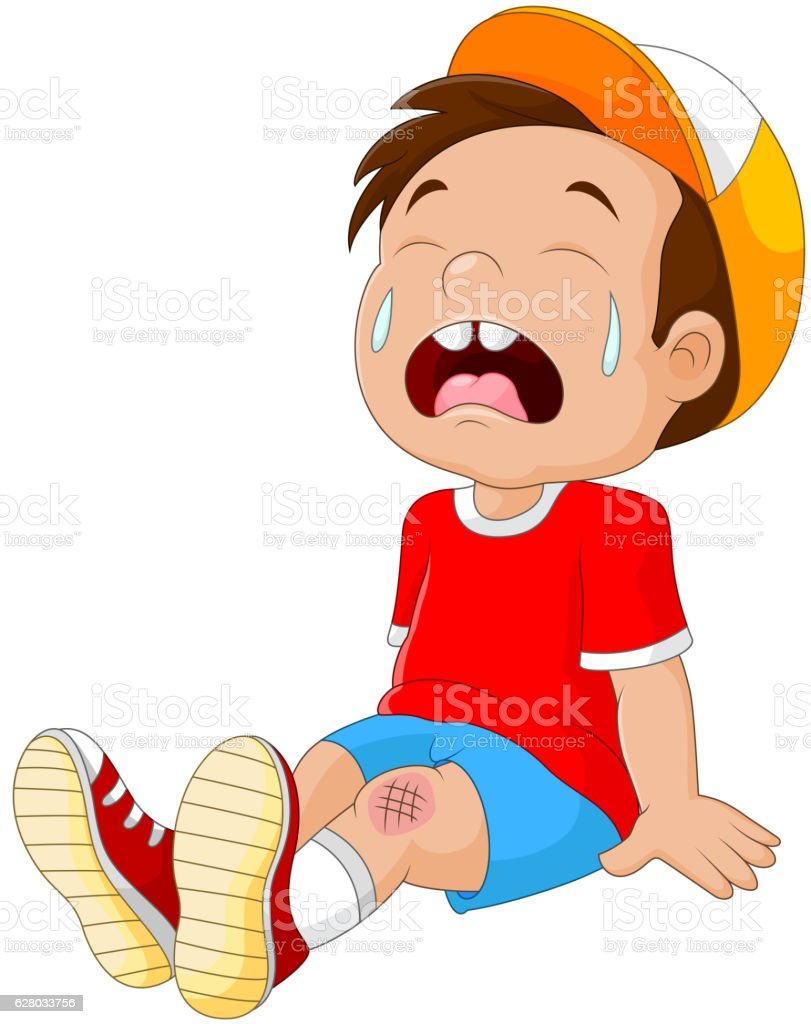Cartoon crying boy with wounded leg vector art illustration