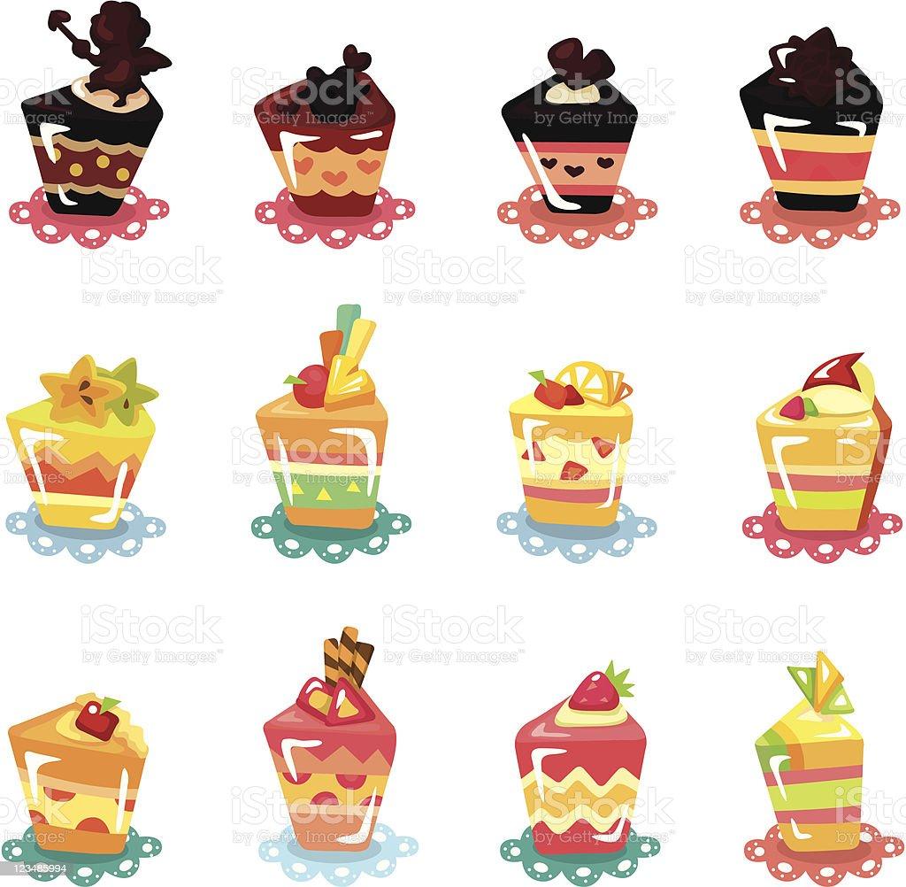 cartoon cup cake icons set royalty-free stock vector art