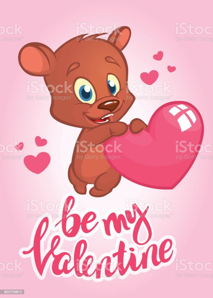 Cartoon cupid bear holding heart. Illustrated invitation or greeting card for St Valentine's day. Vector vector art illustration