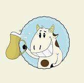 Cartoon cut cow with jug of milk