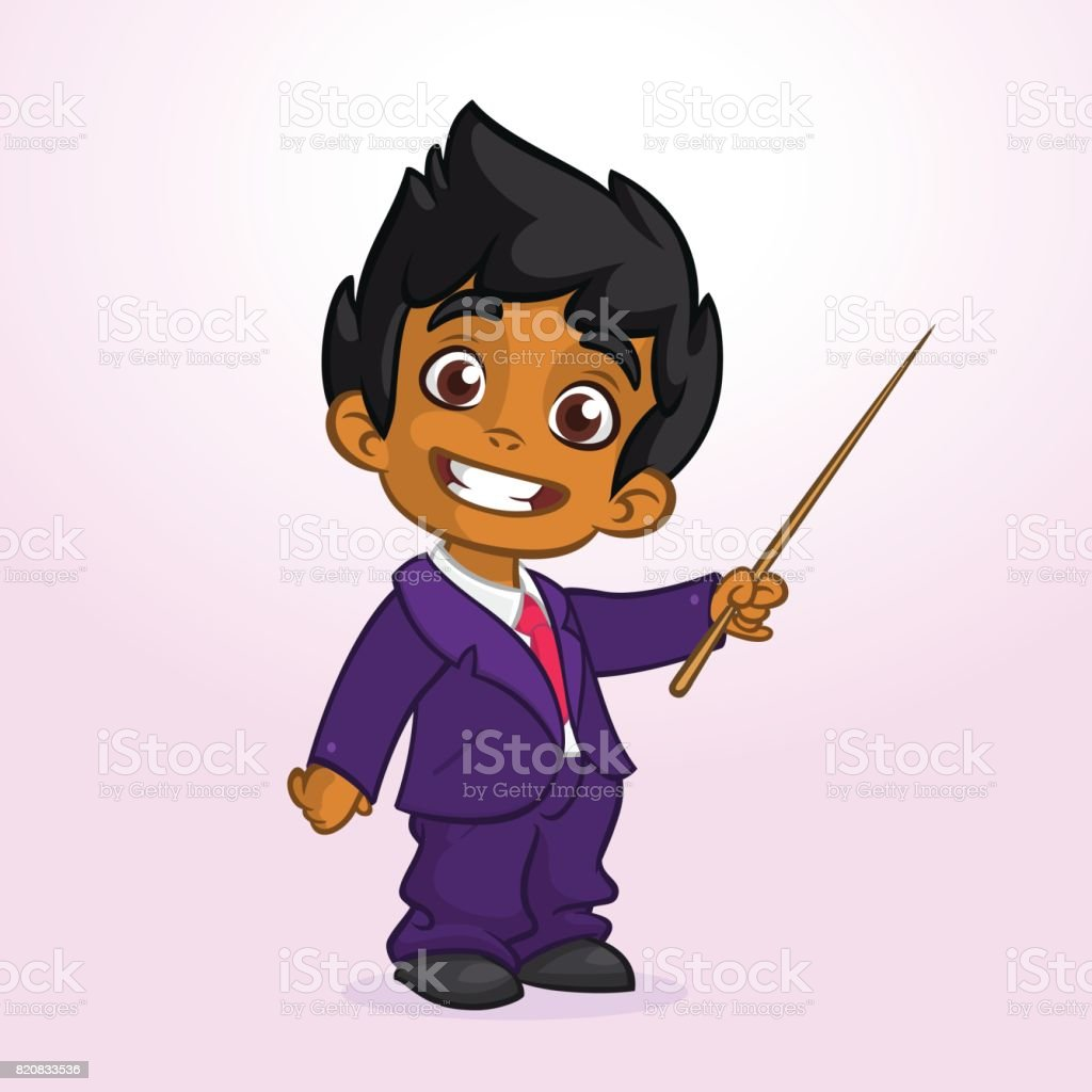 Cartoon cute afro-american  boy businessman presenting with pointer. Vector illustration of arab or indian boy presenting vector art illustration