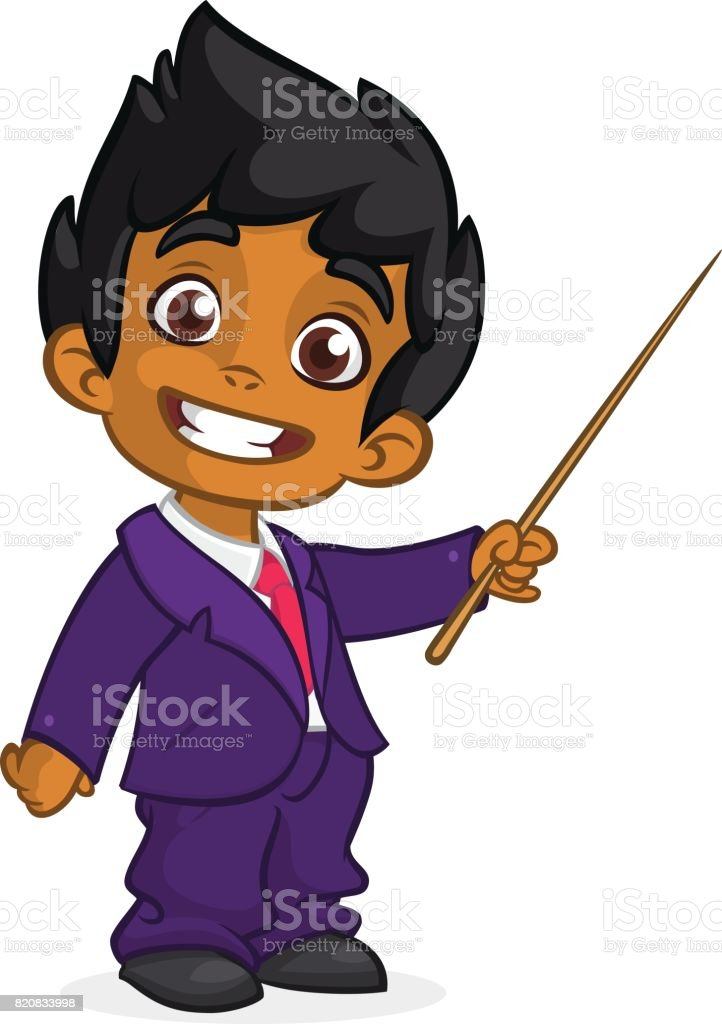 Cartoon cute arab  boy dressed up in a mans business blue suit presenting with pointer. Vector illustration of afro-american or indian boy presenting vector art illustration