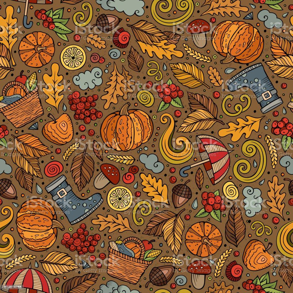 Cartoon cute Autumn seamless pattern vector art illustration
