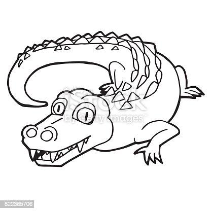 Cartoon Cute Crocodile Coloring Page Vector Illustration stock