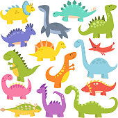 Cartoon cute dinosaurs vector.