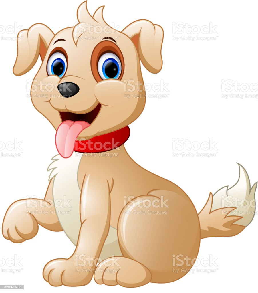 Cartoon cute dog vector art illustration
