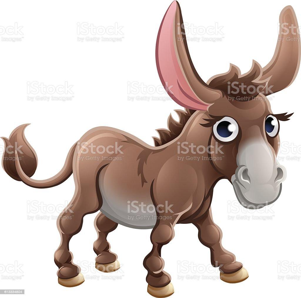 Cartoon Cute Donkey Farm Animal vector art illustration
