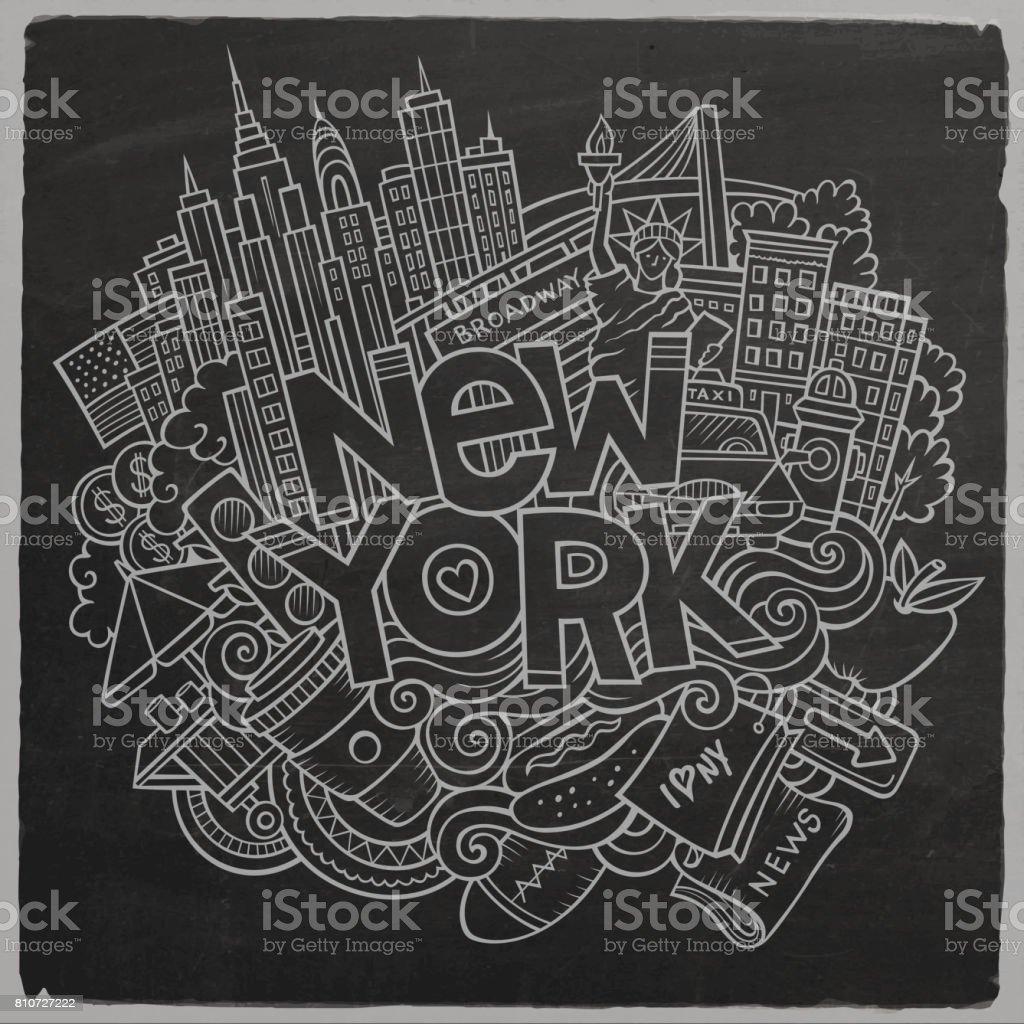 Cartoon cute doodles hand drawn New York inscription vector art illustration