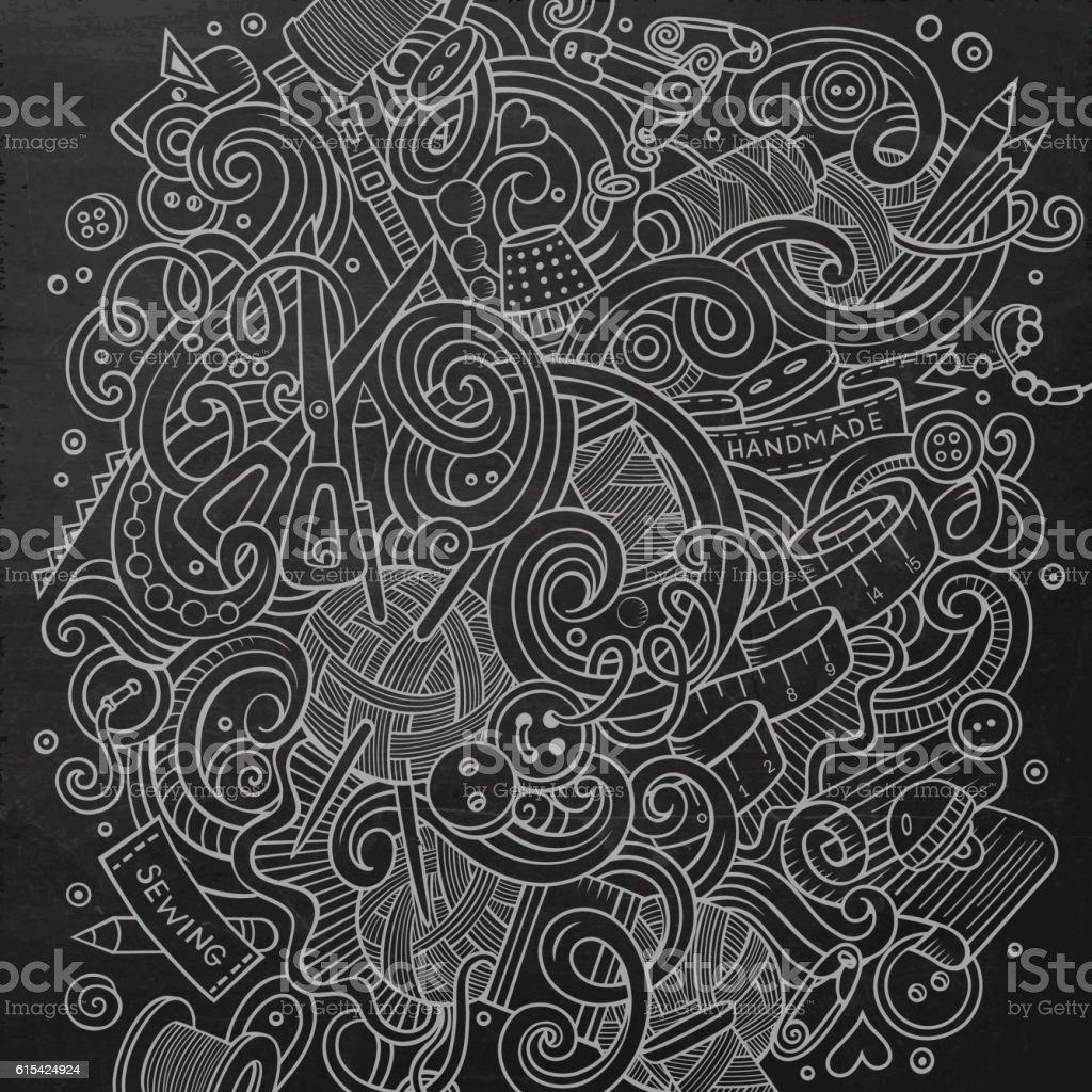 Cartoon cute doodles Handmade illustration vector art illustration