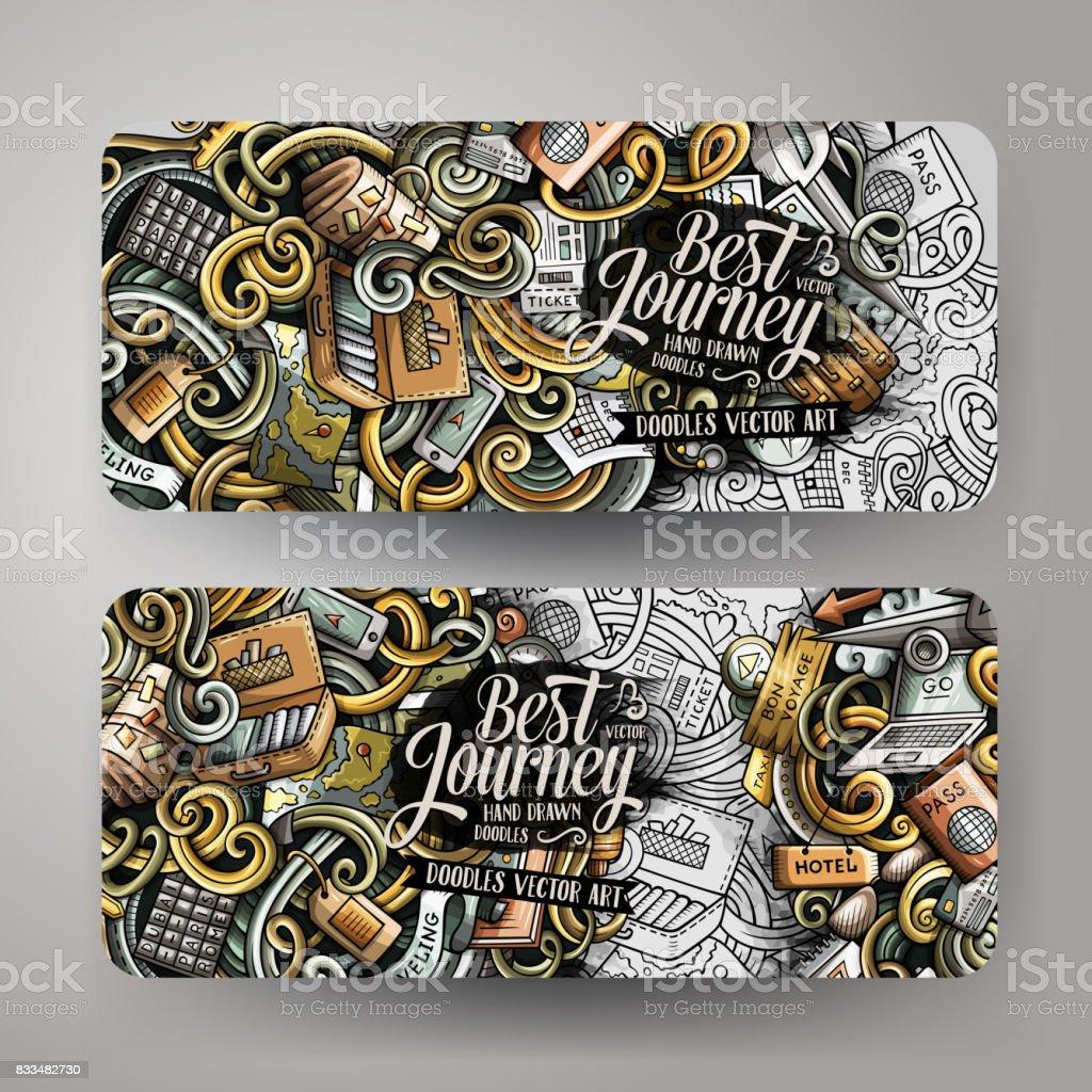 Cartoon cute doodles travel banners vector art illustration